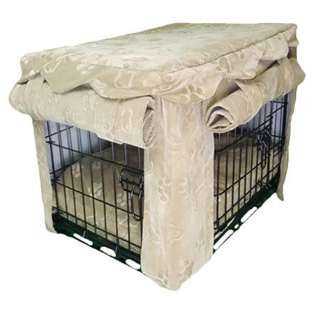 Offering privacy and comfort for your four-legged friend, this versatile pet crate cover features roll-up openings on both sides while the paw print motif an...