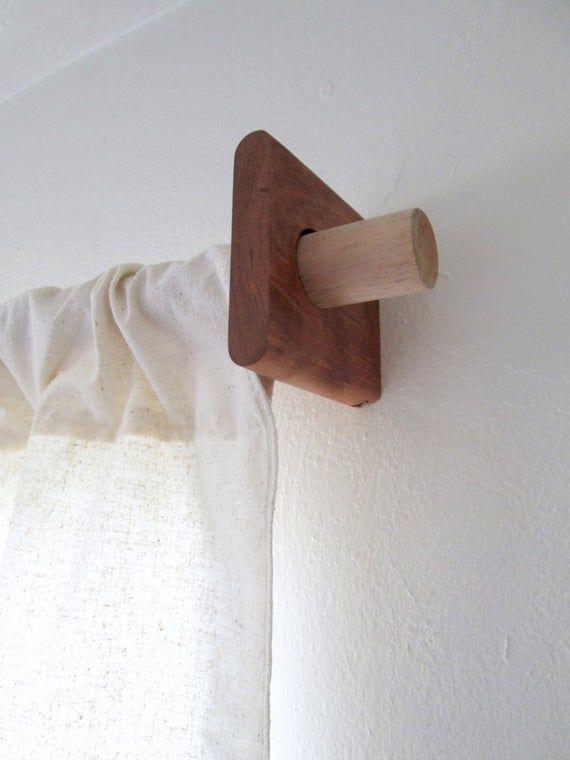 Soporte De Varilla De Cortina Nuez O Cereza Soporte De Etsy In 2020 Wood Curtain Rods Diy Curtain Rods Modern Curtains
