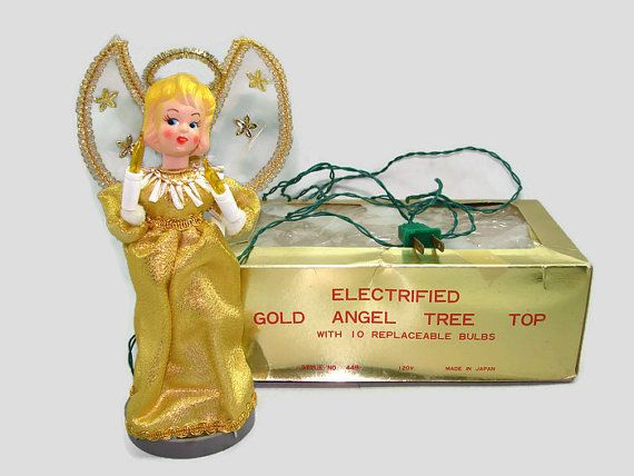 Vintage Lighted Angel Tree Topper, 10 Light Gold Angel Tree Top In Original  Box, Christmas Table Top Decoration, Holiday Centerpiece