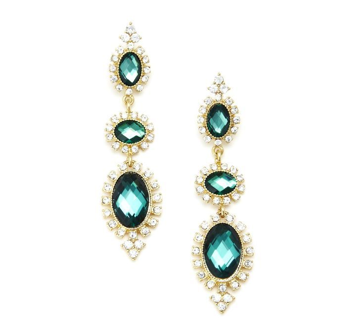 Linear Jewel Drop Earring