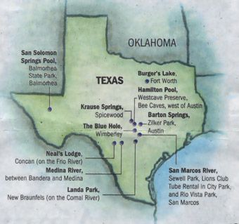 Texas Swimming Holes Map Cool, clear water   Water   Joe Nick Patoski | Texas places, Texas