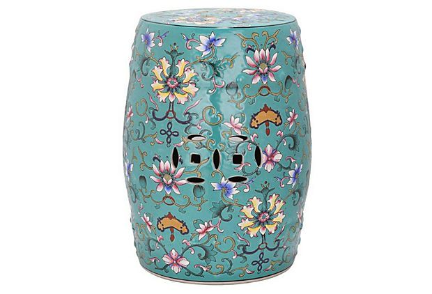 Incredible Eva Ceramic Garden Stool Teal Multi On Onekingslane Com Caraccident5 Cool Chair Designs And Ideas Caraccident5Info
