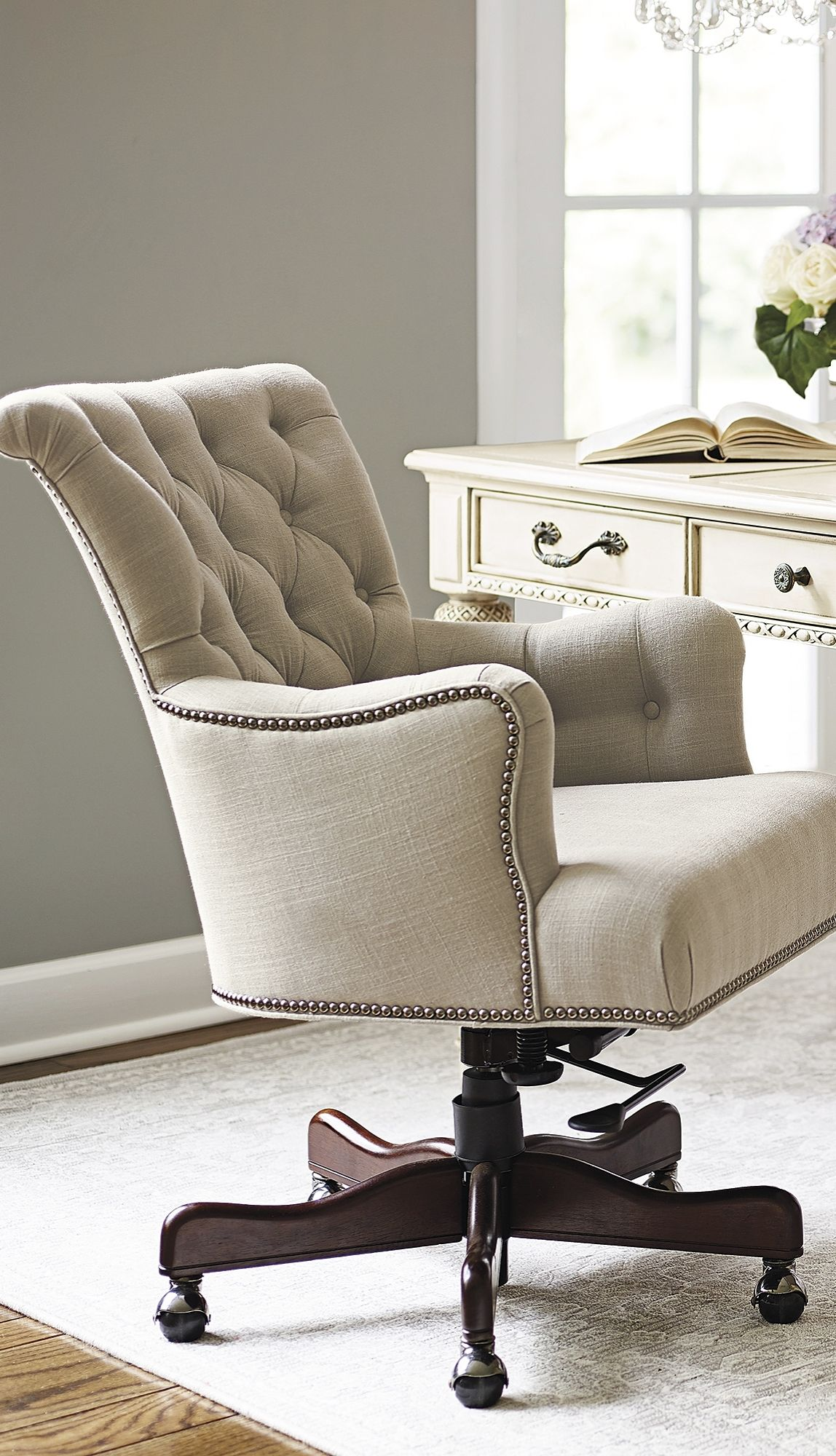 button tufted linen accented with silver nailhead trim defines the elegant averly desk chair  [ 1148 x 2000 Pixel ]