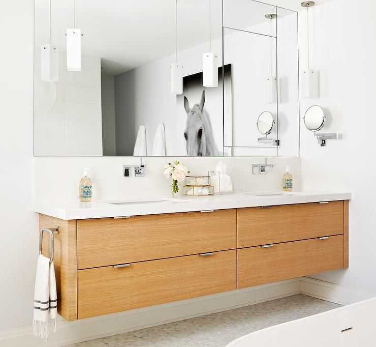 Contemporary Bathroom Features Veneer Floating Double Vanity Paired With Modern Wall Mounted