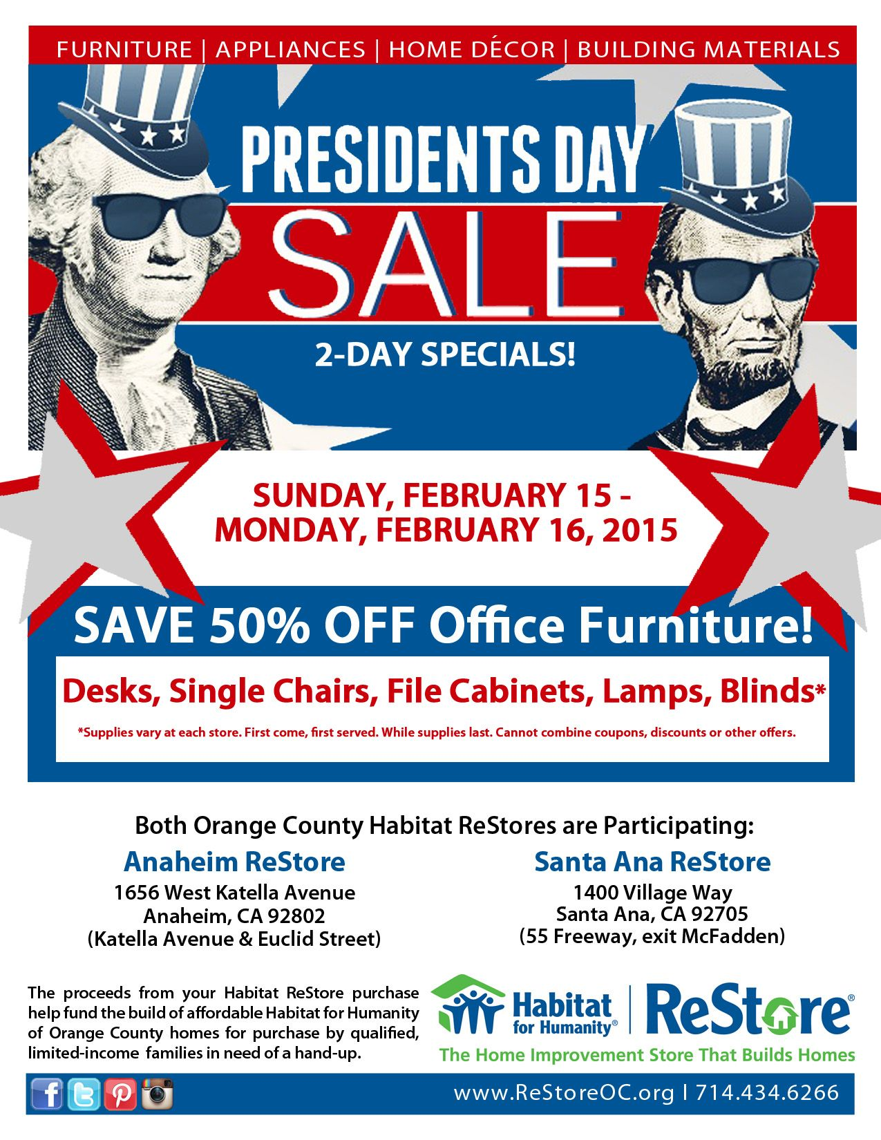 Presidents day sale february 15 16 2015 presidents day sale restores event anaheim restore 1656 west anaheim ave katella euclid santa ana restore