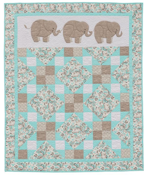 Pachyderm Pals baby quilt from the book Animal Parade 2 | Baby ... : baby quilt books - Adamdwight.com