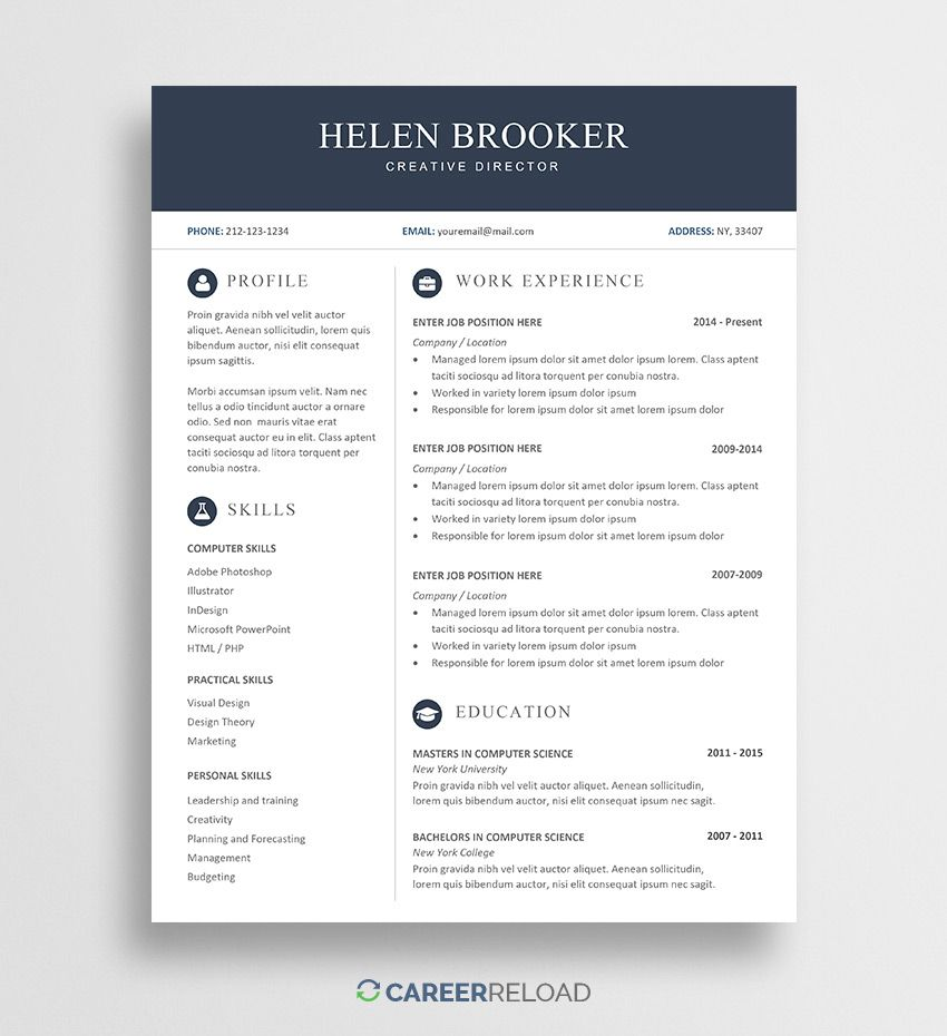 Free Cv Template For Word Free Resume Template Word Cv Template Free Downloadable Resume Template Free word resume template download