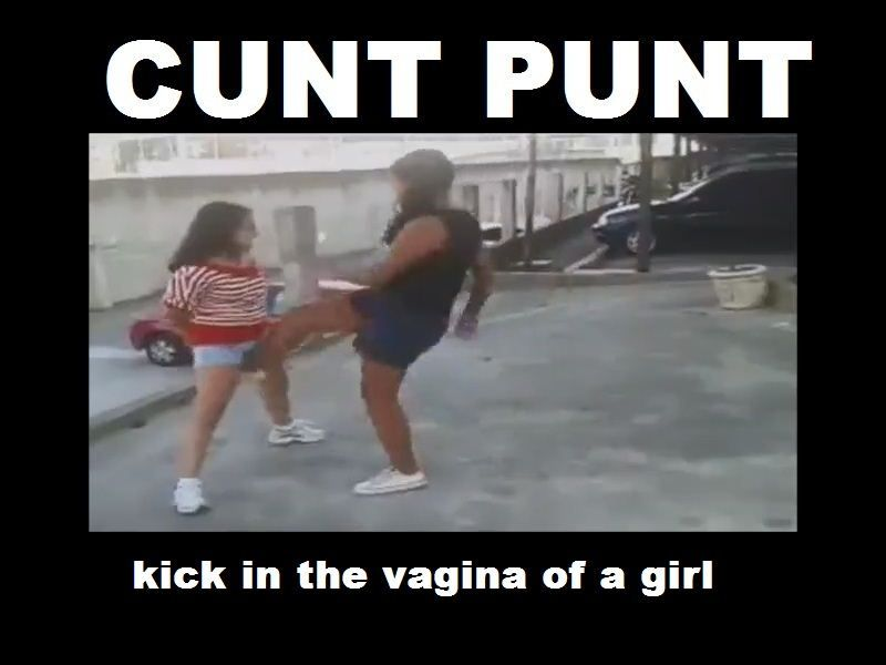 Girl kicked in her clit