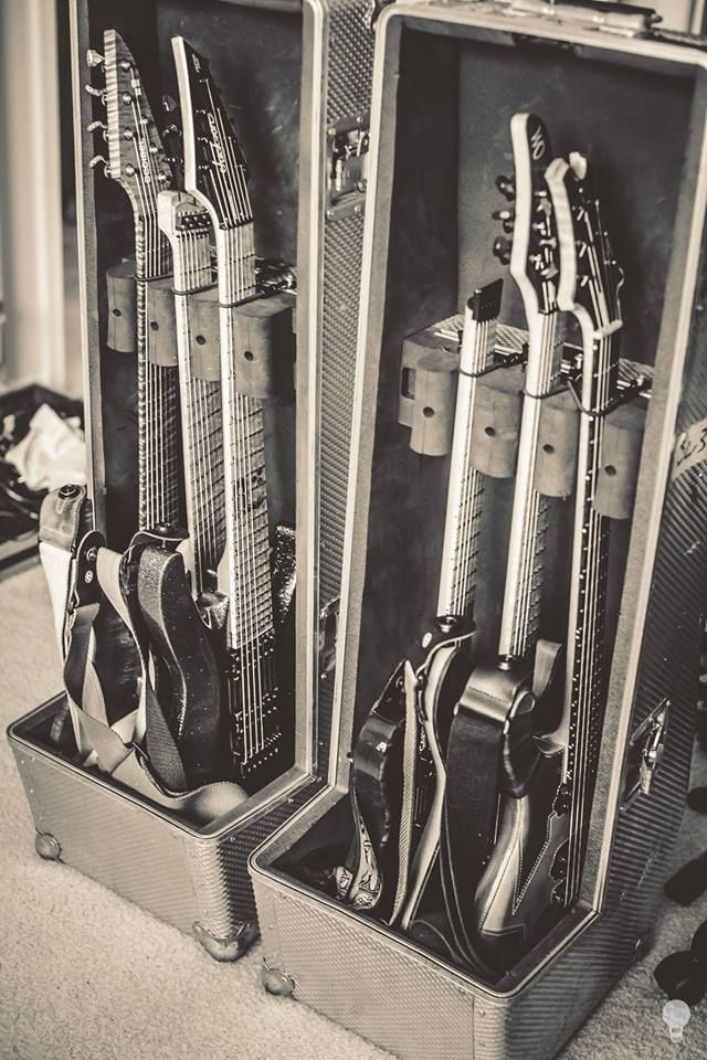 Guitars for the shows in Mexico are packed and prepped! Left to right: Decibel Guitars Javelin Db1 Strandberg Guitarworks #23 Jackson Guitars - Official! Custom Shop Dinky 7 Carvin Guitars & Pro Audio HH2 Holdsworth Mayones Guitars Basses Regius 6 DellIsola Instruments Custom 6