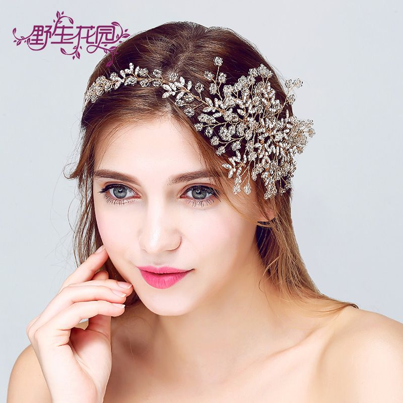 Korean Handmade Crystal Flowers Bride Jewelry Hair Band Wedding Accessories Supplies Affiliate