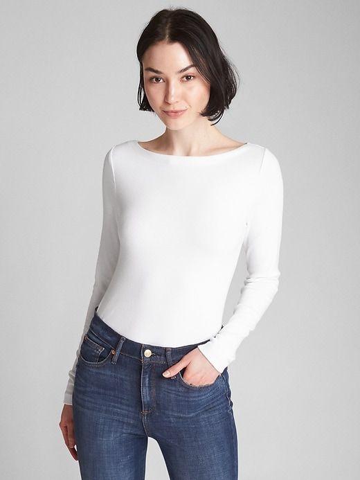 ece712147aabe6 Gap Women's Modern Long Sleeve Boatneck T-Shirt New Off White ...