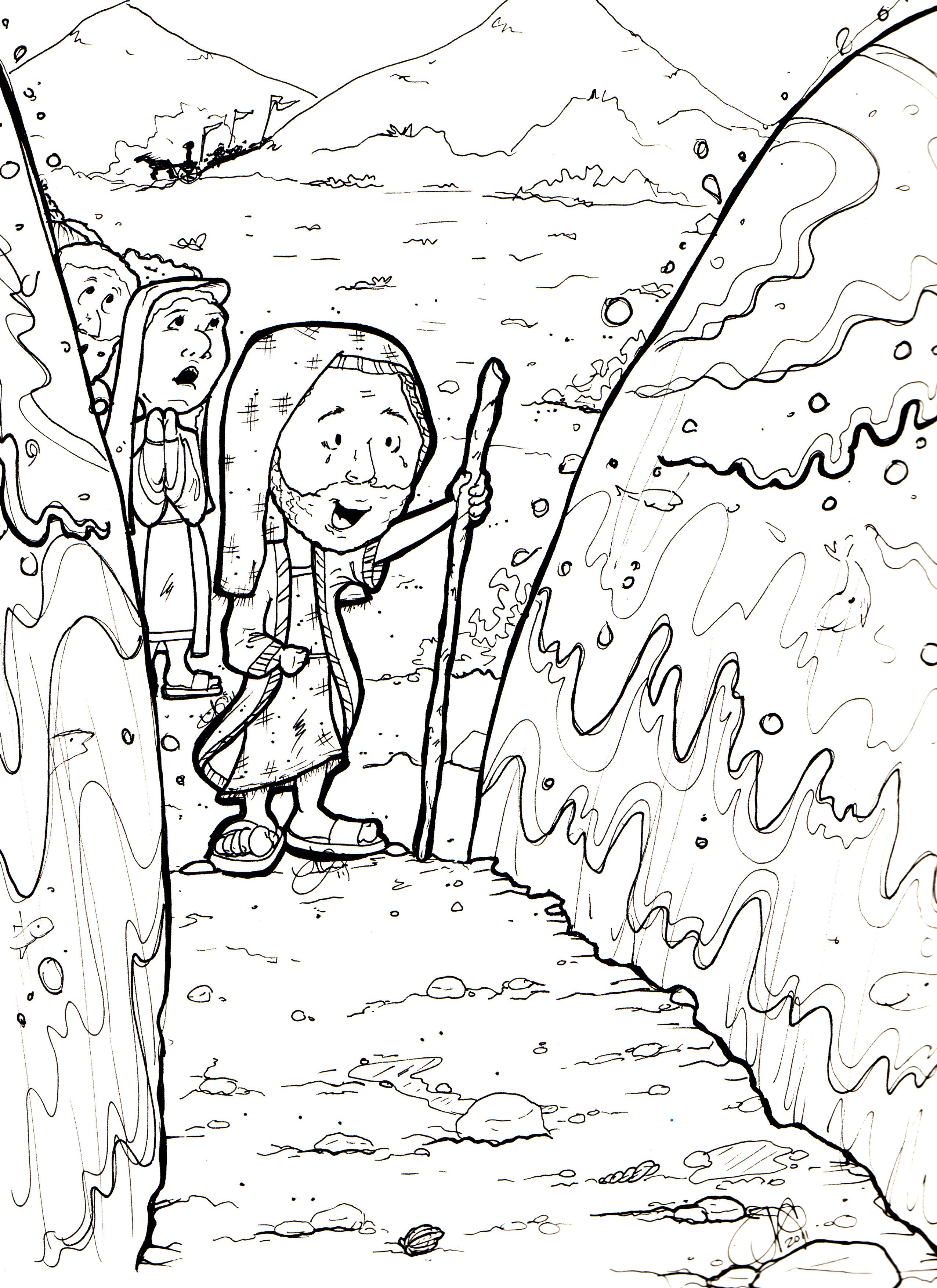 Exodus Parting Of The Red Sea Parting The Red Sea Moses Red Sea Coloring Pages