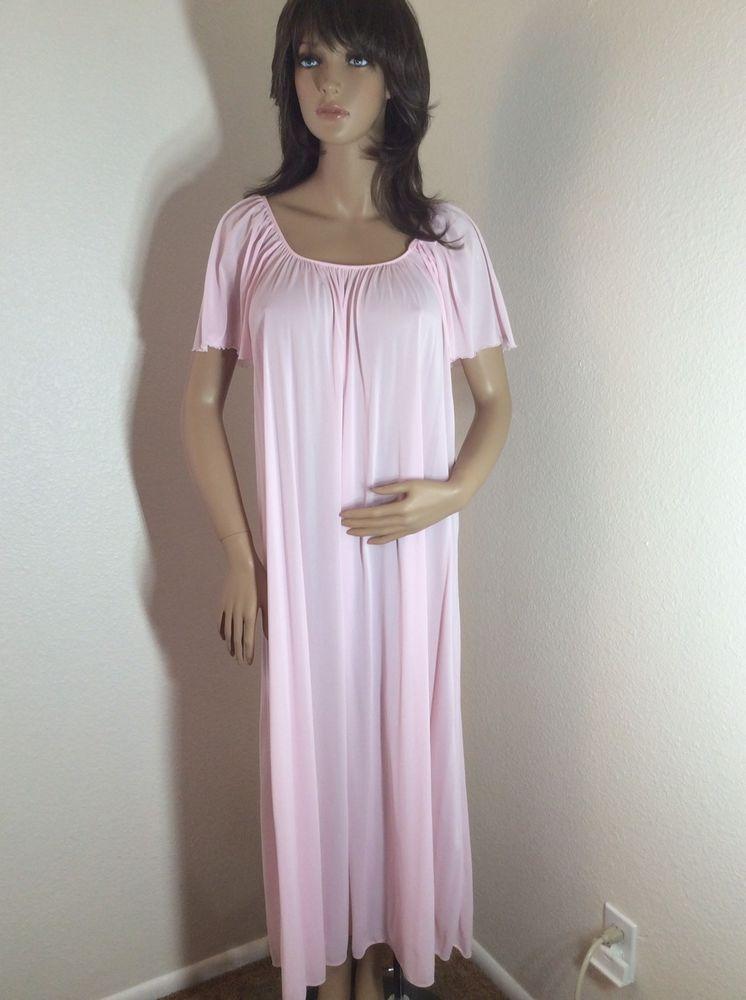 Vintage MISS ELAINE Nylon Pink Long Nightgown size Medium  MissElaine 8e5d3c2e1