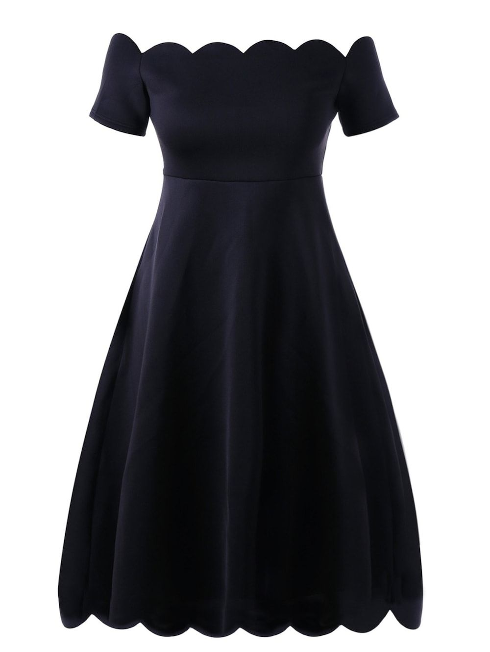 Plus size scalloped off shoulder formal dress need this