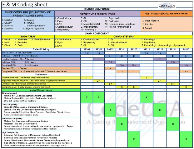 E & M Spreadsheet | Work it | Pinterest | Medical coding, Medical ...