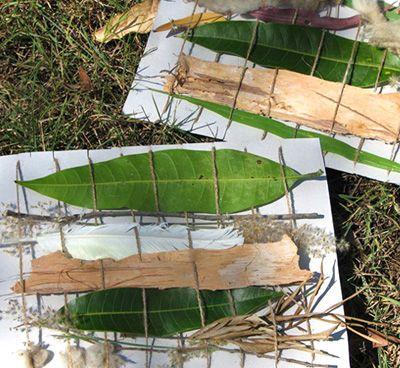 Weben mit Blättern