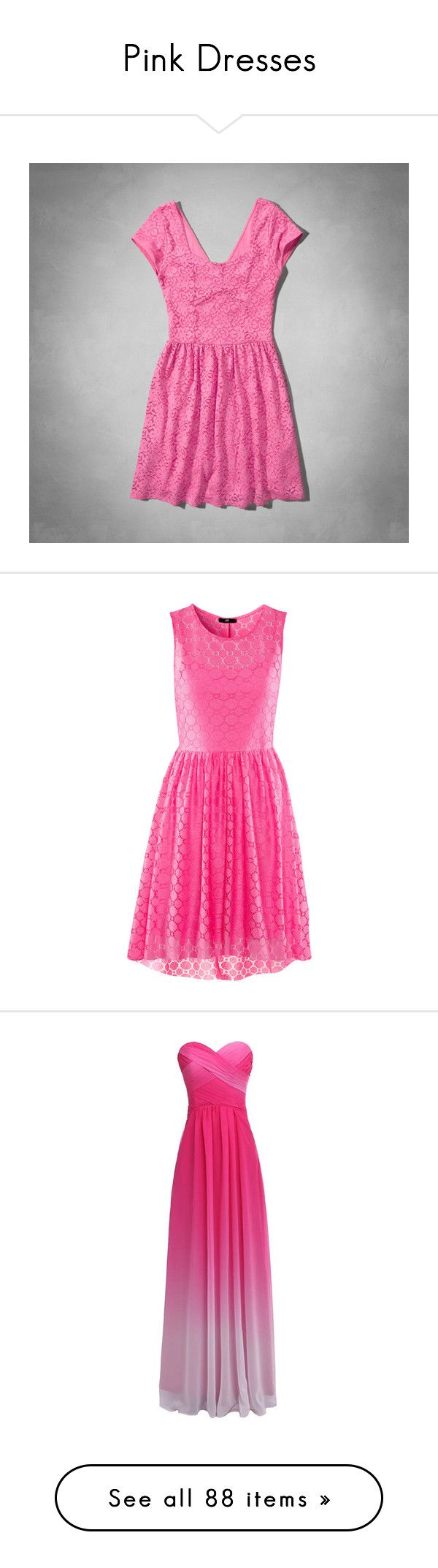 """Pink Dresses"" by jadeadaline ❤ liked on Polyvore featuring dresses, pink dresses, short dresses, vestidos, neon pink, sparkly dresses, prom dresses, sparkly prom dresses, pink sparkly dress and pink striped dress"