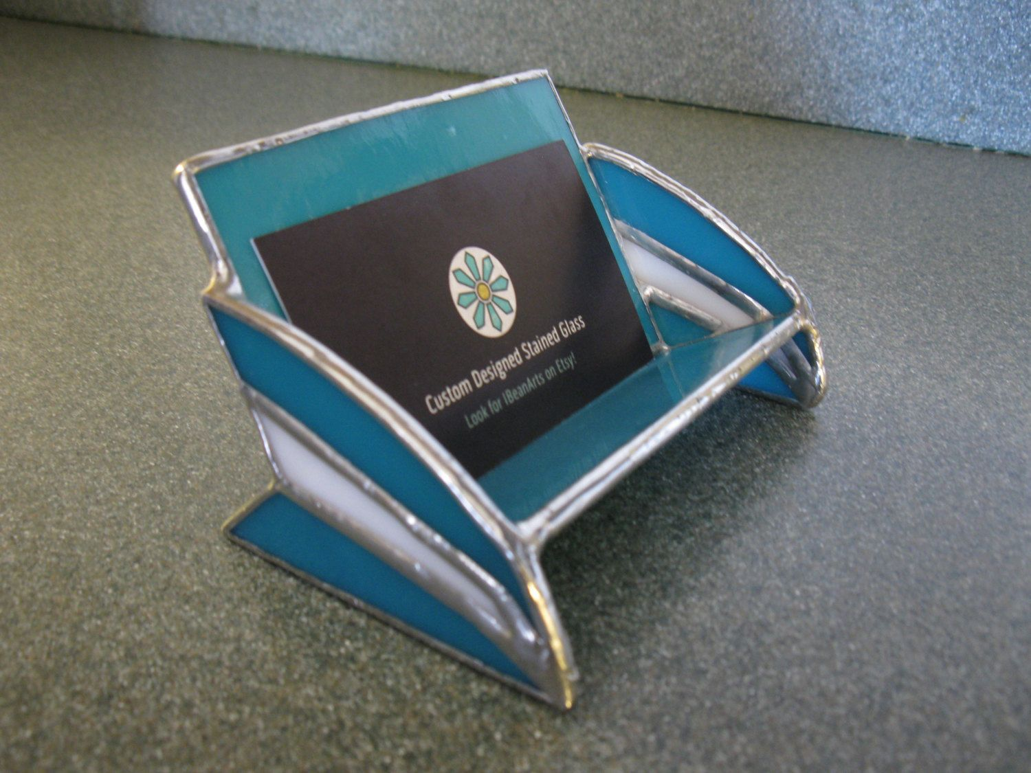 Stained Glass Business Card Holder by IBeanArts on Etsy | Business ...