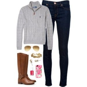 Quarter Polo Zip + Skinny Jeans + Boots - Easy, preppy, and put together.