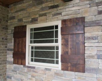 Thick Rustic Exterior Wood Shutters (Set of 2) | Front of House ...