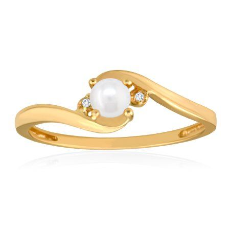 JUNE Birthstone Ring 10K Yellow Gold Pearl Ring $129.00