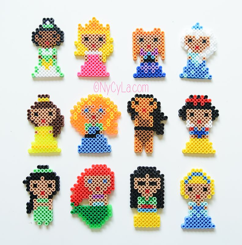 Princesses Disney En Perles Hama Par Nycyla Com Art Perle Schemas De Bijoux En Perles Artisanat A Perlesperles