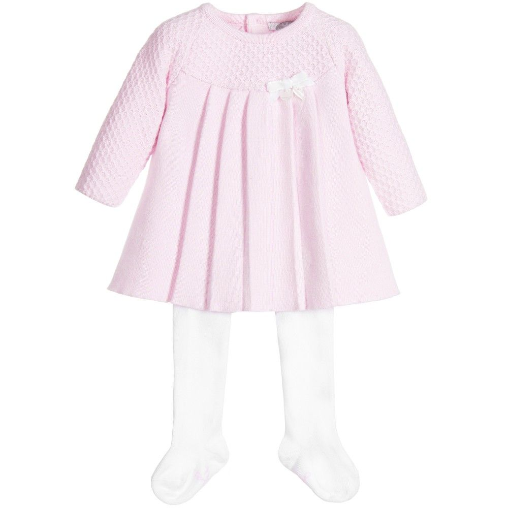 31b5b9fcbb29 Tutto Piccolo - Baby Girls Pink Knitted Dress   White Tights ...