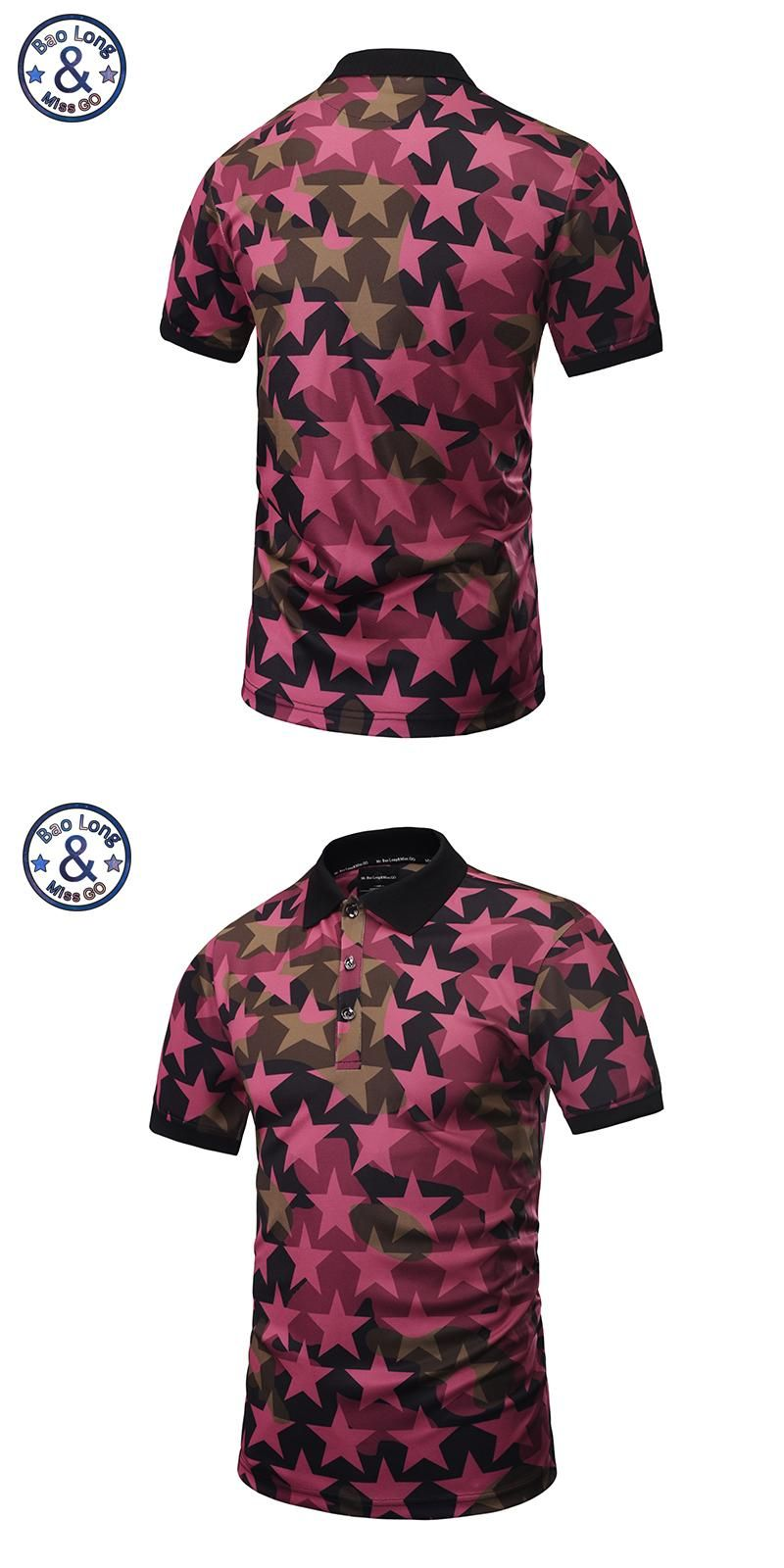 2018 New Arrival Men Polo Shirts 3d Star Design Printed Hip Hop