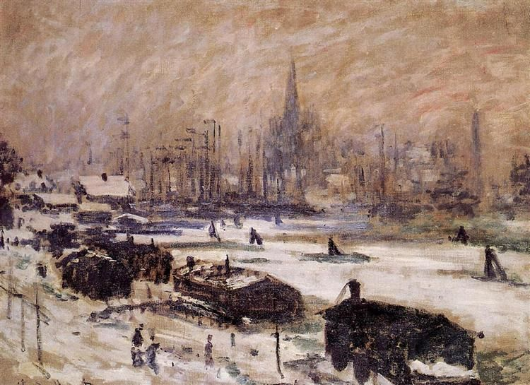 Amsterdam in the Snow, 1874 by Claude Monet. Impressionism. cityscape