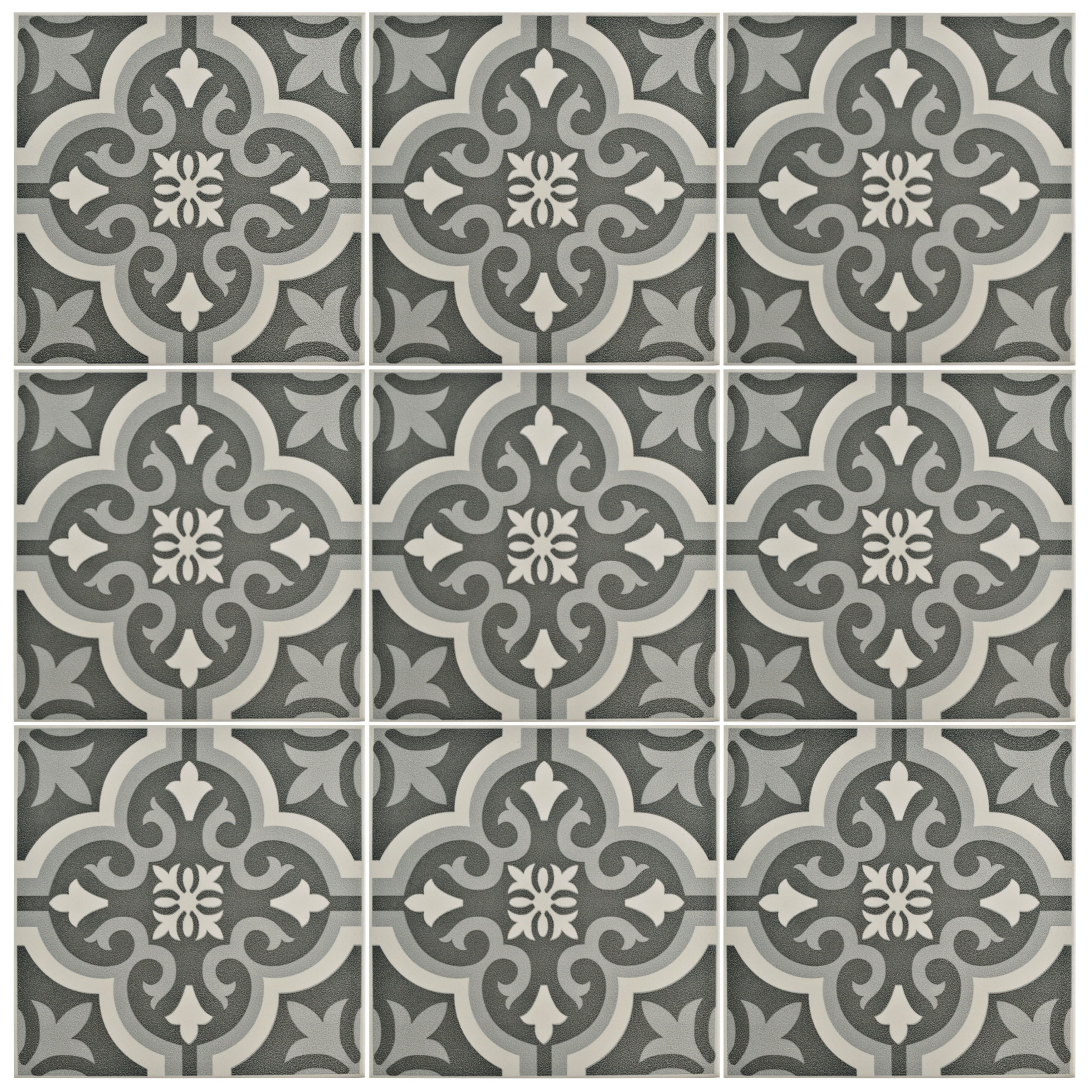 Lima 775 x 775 ceramic field tile in charcoal graywhite lima elitetile lima 8 x 8 ceramic tile dailygadgetfo Choice Image