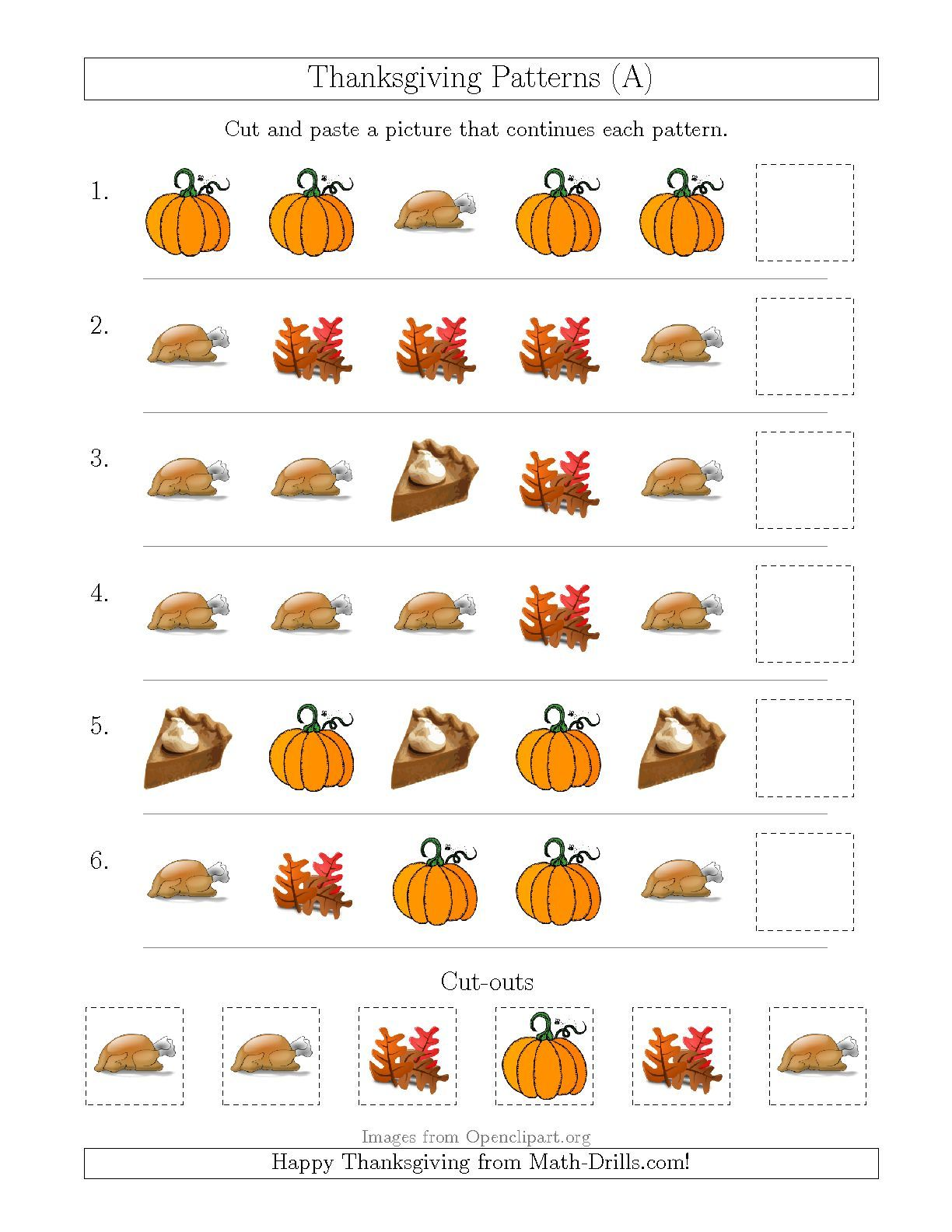 The Thanksgiving Picture Patterns with Shape Attribute Only (A ...