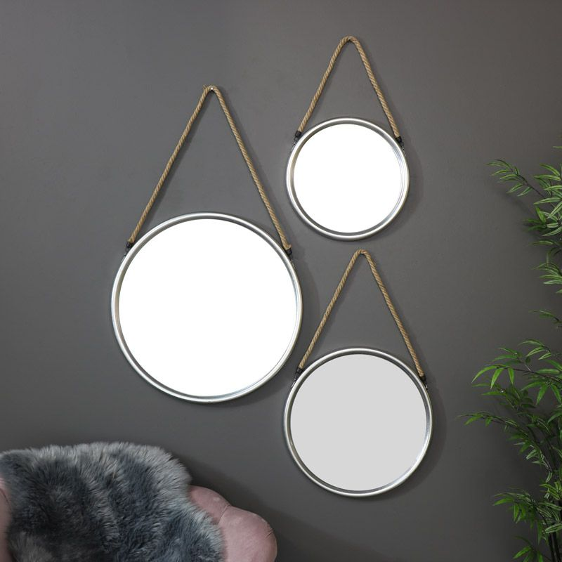 Set Of 3 Round Silver Wall Mounted Mirrors Wall Mounted Mirror Silver Walls Mirror