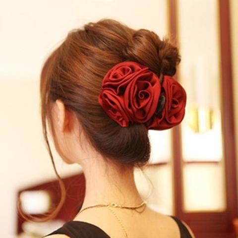 LADY Women Chiffon Rose Flower Bow Jaw Clip Barrette Hair Claw Accessories NEW