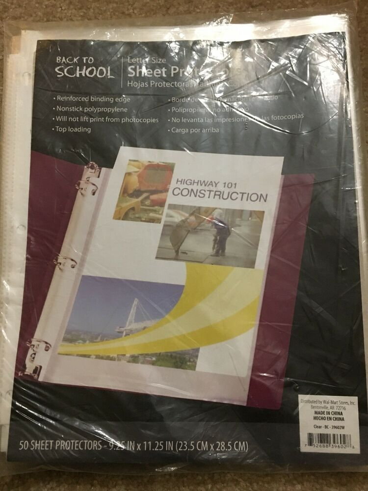 50 Sleeves Clear Plastic Sheet Page Protectors Document Office Letter Size Paper Ebay Clear Plastic Sheets Plastic Sheets Letter Size Paper