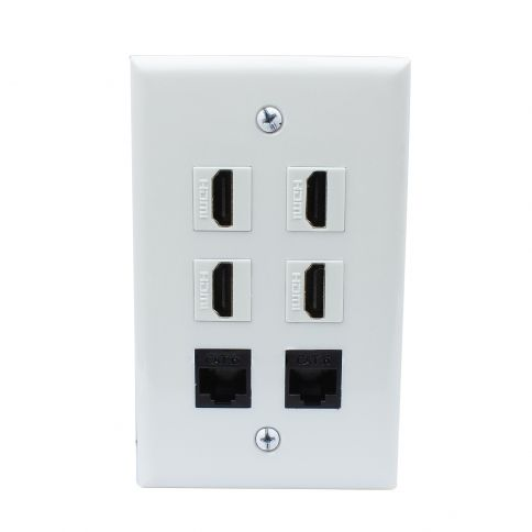 Banana Plug Wall Plate Prepossessing Combination 4 Port Hdmi And 2 Port Cat6 Wall Plate Covers  Wall Design Ideas