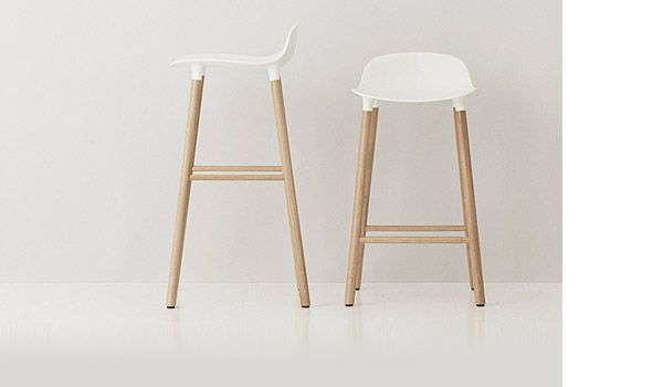 Form Bar Stool Designed By Simon Legald Denmark The Shell Is Available In White Or Grey And Legs Are Made From Either Oak Walnut