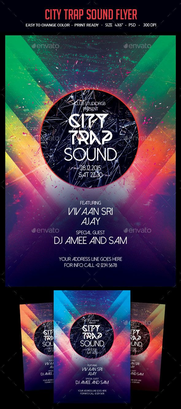 City Trap Sound Flyer Flyer template, Template and Font logo - workshop flyer template
