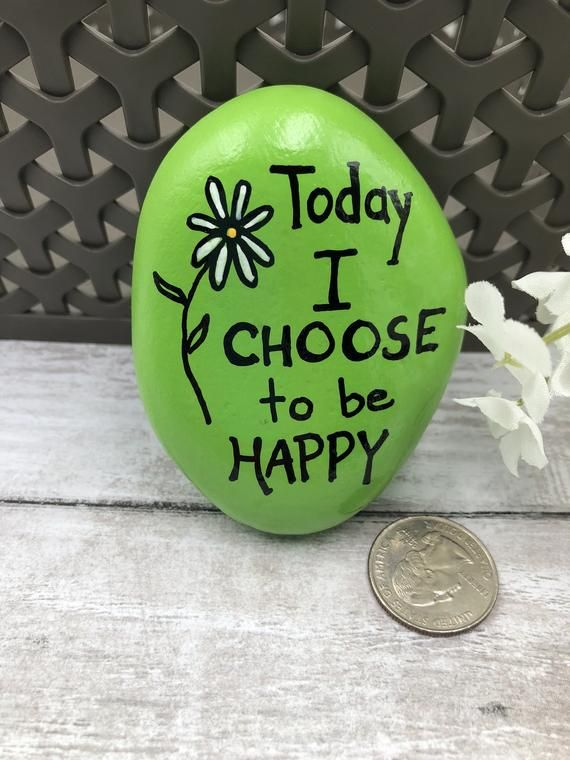 Today I Choose to Be Happy Encouragement Rock Affirmation | Etsy