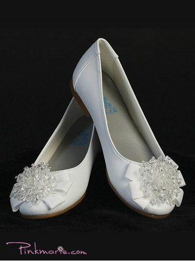 White Girl Flats Shoes with Pearl Bow