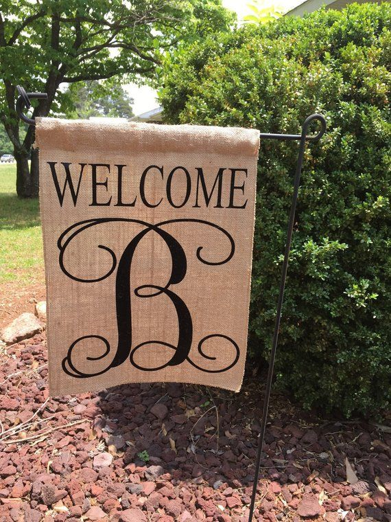 Welcome Monogrammed Garden Flag Personalized Garden Flag Burlap