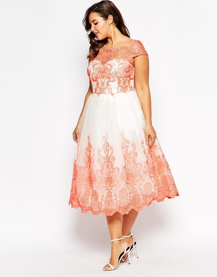 Image 4 of Chi Chi London Plus Metallic Lace Midi Prom #Dress for ...