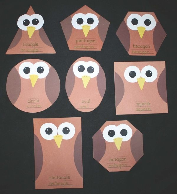silly shaped owls to teach students different shapes