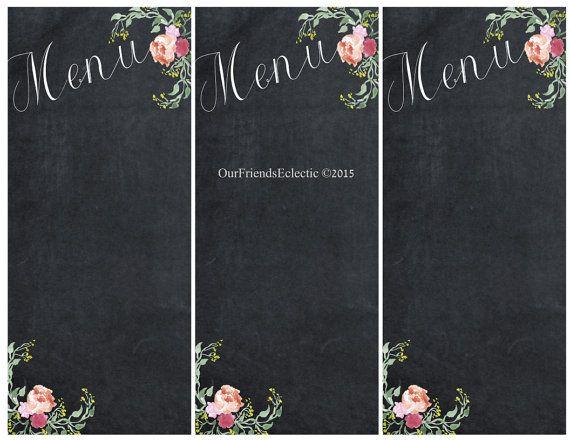 Exceptional Printable Chalkboard Menu, Chalkboard Wedding Party Menu, Menu Blank  Template, You Print, Floral Menu, Digital Menu