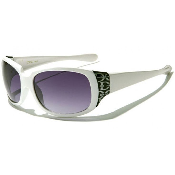 166504fbacb2 DG Eyewear - Womens Plastic Sunglasses White with Purple Glasses and Black  Logos