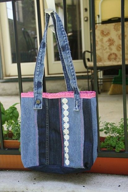 Tote Bag Made from Two Pairs of Jeans