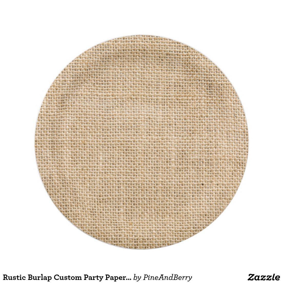 Rustic Burlap Custom Party Paper Plates 7 Inch Plate