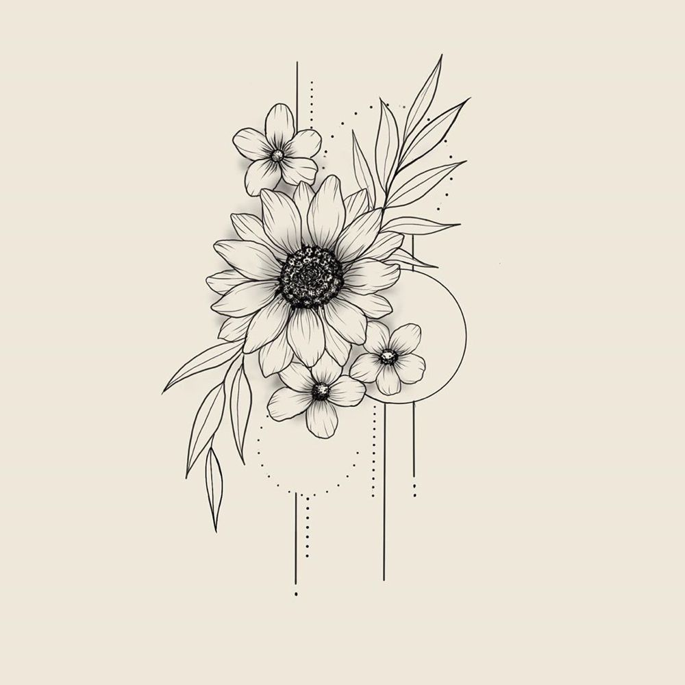 "Tracy B. Tattoos 🇨🇦 on Instagram: ""UPDATE: sold 🖤 🌻  Book your small tattoo online, link in profile ⬆️ #sunflowertattoo #floralillustration #tattoodesign #flowerdrawing…"""