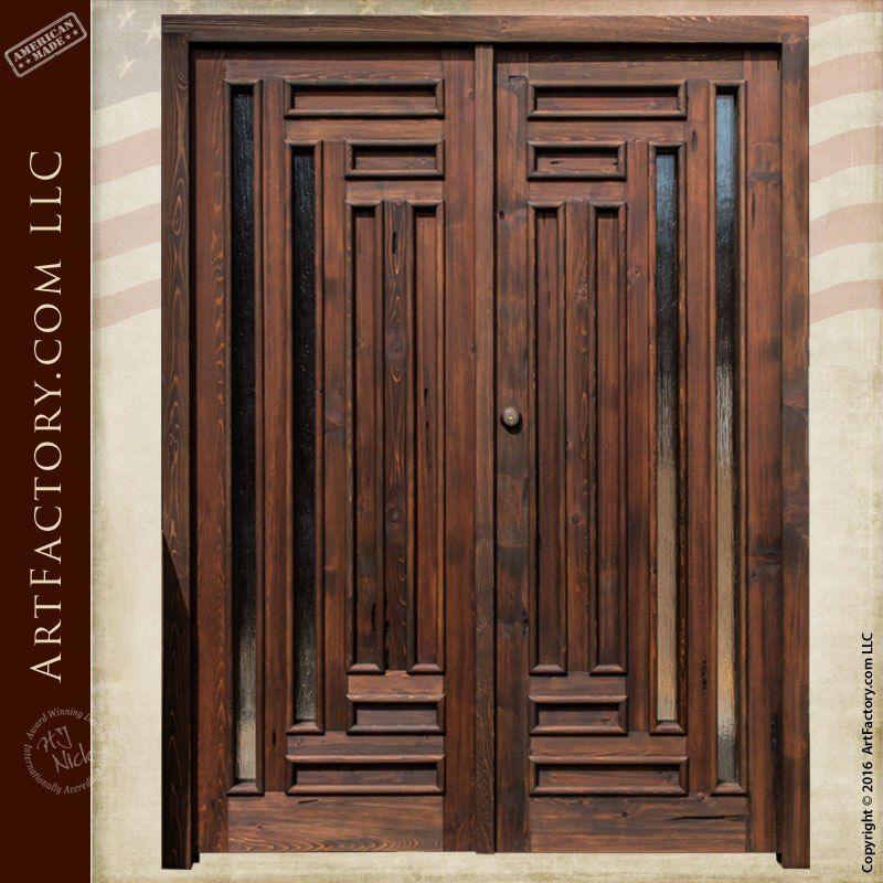 Handmade Exterior Double Doors Custom Glass Panel Inserts Double Doors Exterior Wood Doors Interior Double Front Doors