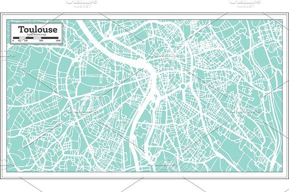 Toulouse France City Map in Retro Toulouse france City maps and