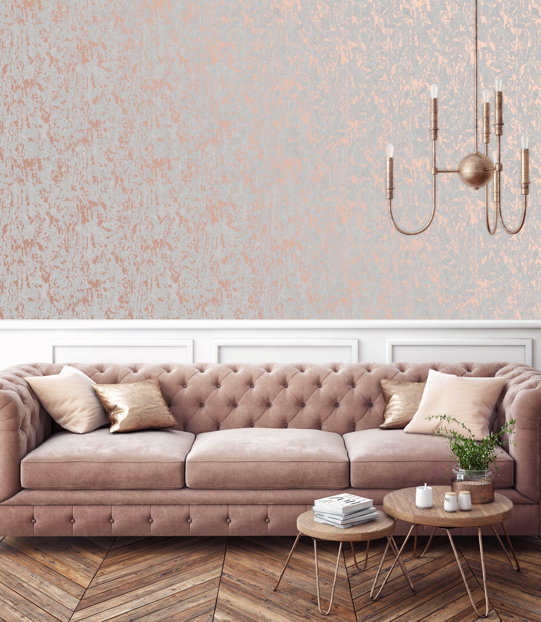 G B Superfresco Wallpaper Milan Rose Gold 106401 Wonderwall By Nobletts Desain Desain Ruang Tamu Desain Ruangan
